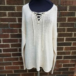 Old Navy Sweater Lace Up Large Ivory